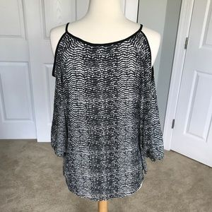 Apt. 9 Tops - Black and White Chiffon Cold-Shoulder Blouse